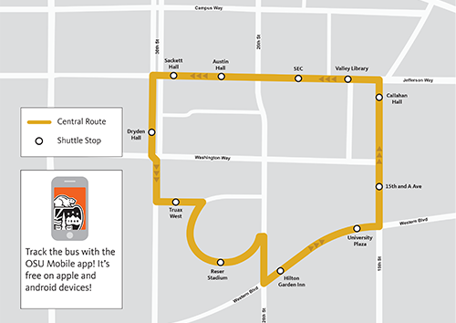 Central Shuttle Route Map