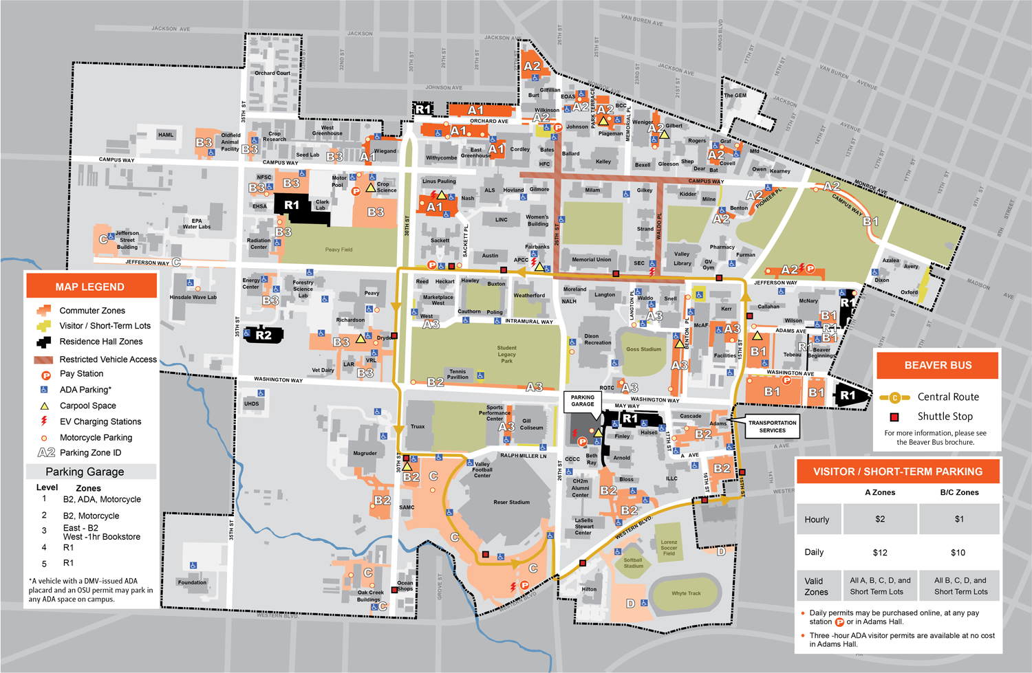 2017 Summer OSU Parking Map