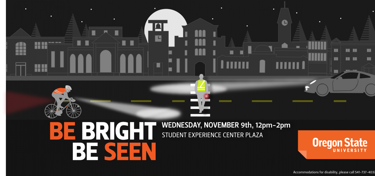 Be Bright, Be Seen is on November 9th from 12am - 2pm in the Student Experience Center Plaza