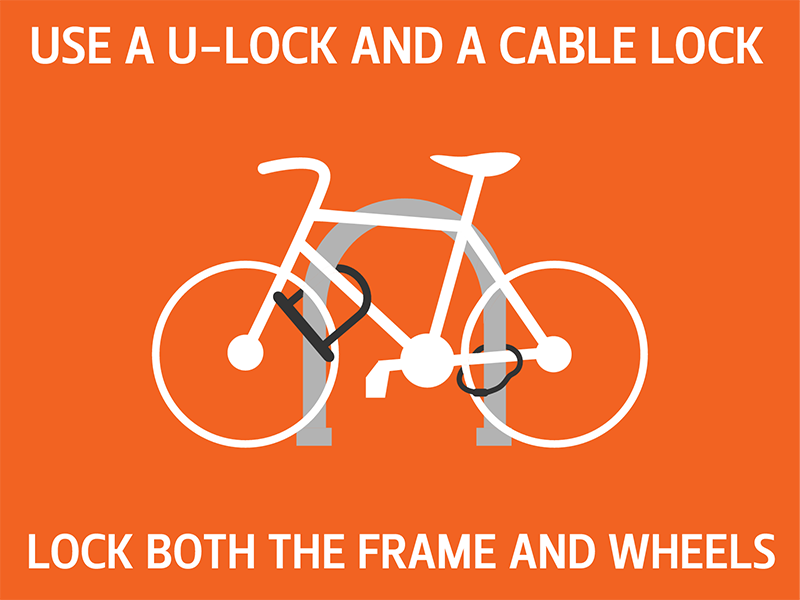 Use a U-Lock to lock frame and front wheel to rack, and use cable or u-lock to lock rear wheel to frame and/or rack