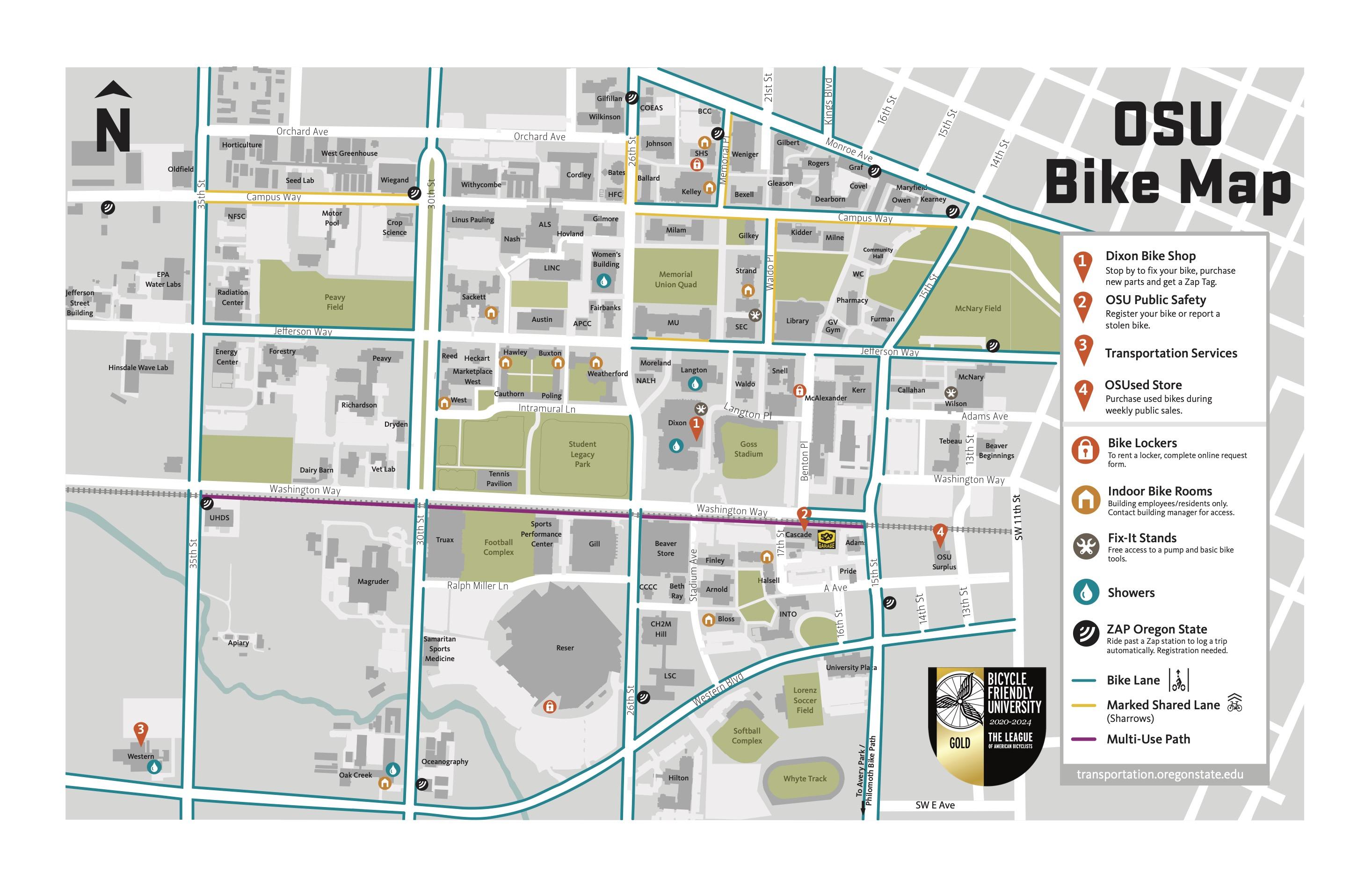 Bike Resource map for OSU