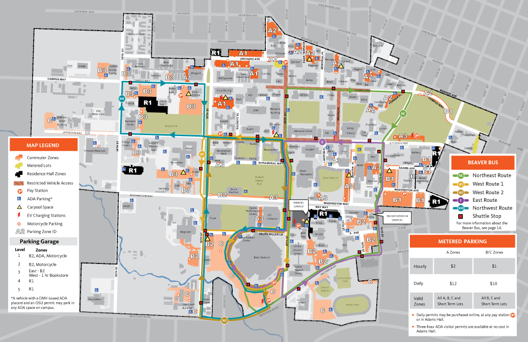 Map for parking and shuttle at Oregon State University