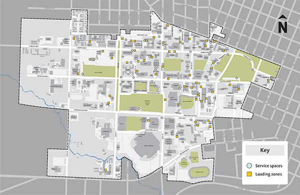 Service and Loading Zone locations